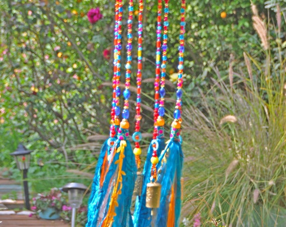 Bohemian Colorful Suncatcher Bells Mobile With Fabric Tassels (made to order)