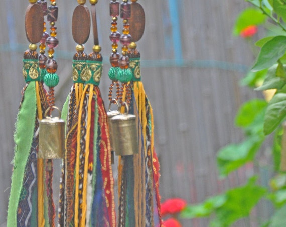 African sun catcher  Wind Chime Mobile With Fabric Tassels and Brass Bells (made to order)