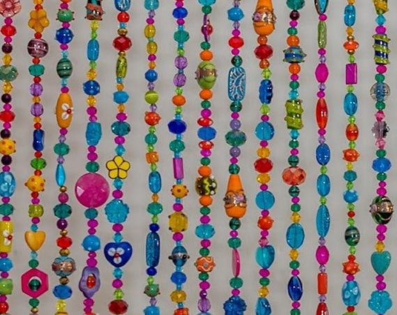 Hippie Bohemian Beaded Suncatcher Curtain ( made to order)