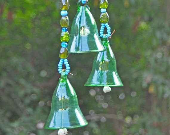 Green  sun catcher Glass-Blown Bell On Beaded String (Made to Order)