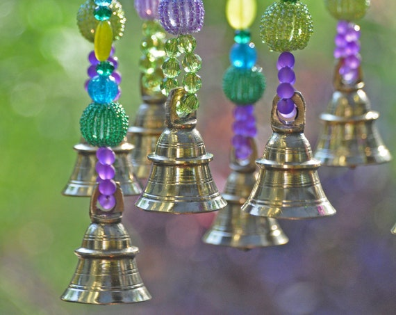 Turquoise Purple and Fuchsia wind chime, Sun catcher with Brass Bells (made to order)