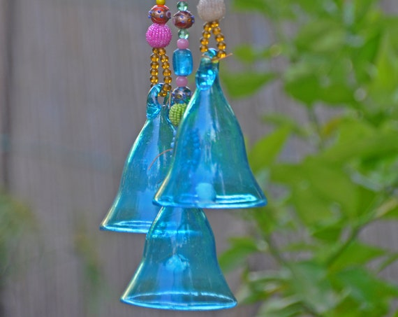 Boho Ethnic  Decor, Turquoise glass bells, Garden decoration, Beaded hanging bells, (Made to order)