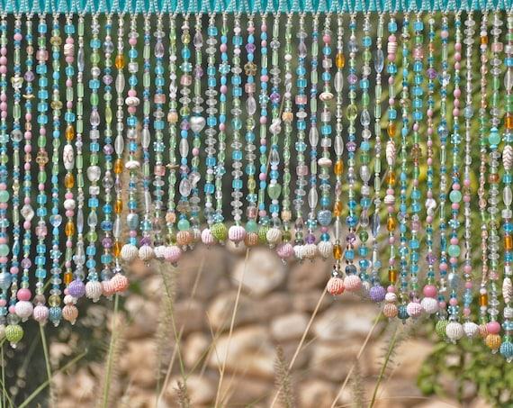 Unique hand made Beaded  Boho Window Valance in Pastel Shadows (made to order)