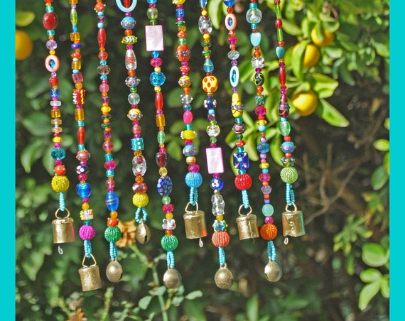 Te Bohemian Colorful Hippie beaded strings with brass bells (made to order)