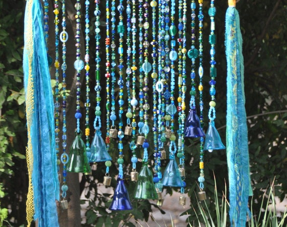 Boho Wall Hanging With Glass Beads, Glass-Blown Bells and Fabric Tassels (made to order)