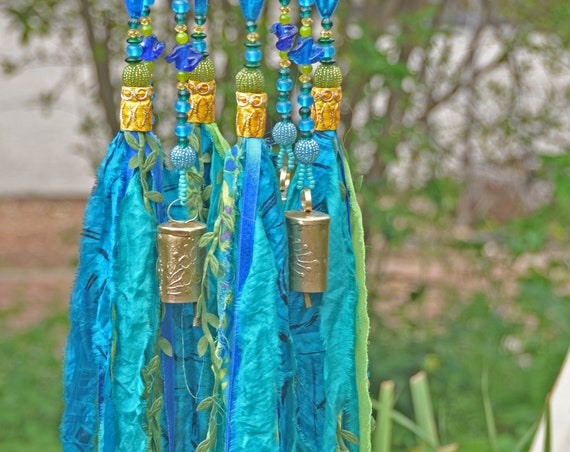 Turquoise and yellow Boho bells mobile with fabric tassels (made to order)
