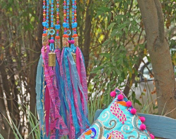 Fuchsia and Turquoise Beaded Wind Chime Sun Catcher with Brass Bells And Fabric Tassels (hand made to order)