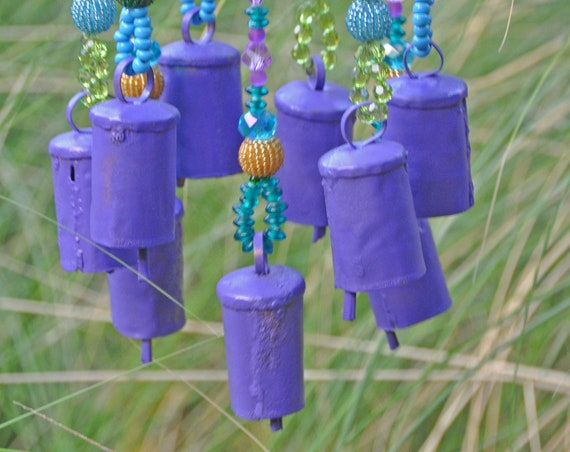Unique Beaded Wind Chime, With Purple Brass Bells