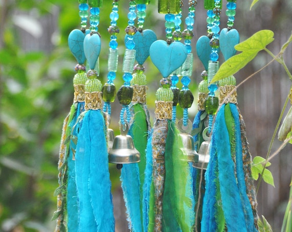 Turquoise Bohemian Wind Chime With Brass Bells and Fabric Tassels (Made to Order)