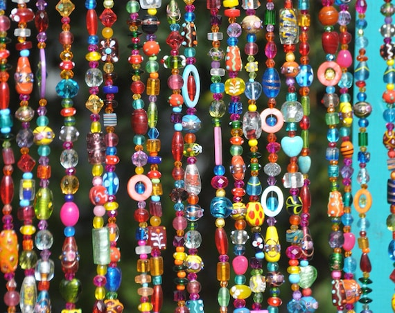 Colorful Bohemian Glass Bead Curtain With Brass Bells (Made to Order)