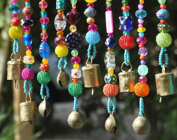Bohemian Hippie Beaded strings with brass bells (made to order)