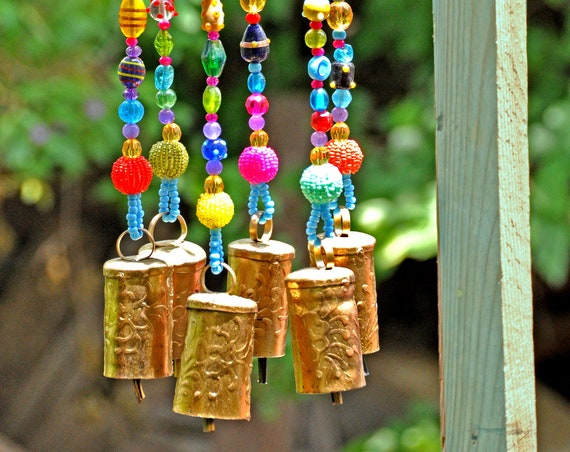 Colorful Wind Bells sun catcher with brass bells (made to order)
