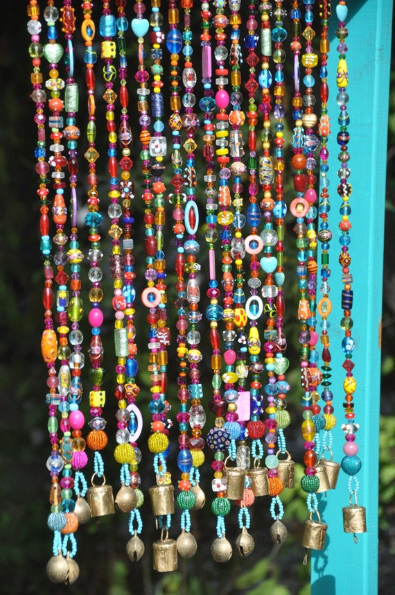 Twenty Colorful Bohemian Glass Beaded Strings With Brass Bells - Beaded curtain (Made to Order)