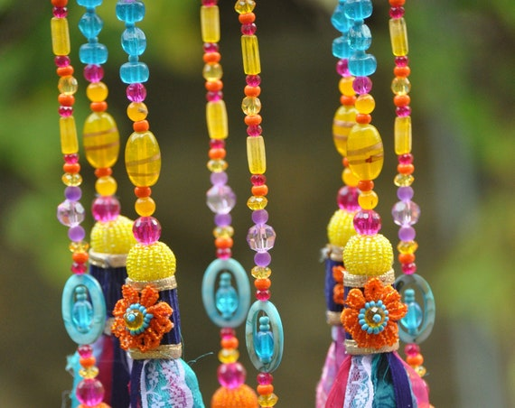 Bohemian colorful beaded  wind chimes, Gypsy  Hippie Bells Mobile