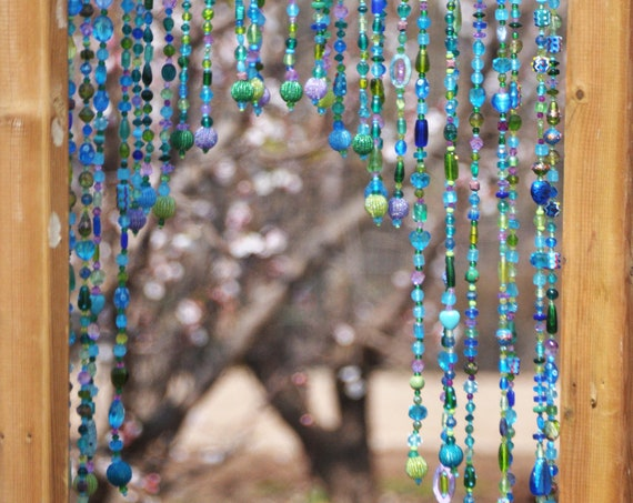Arch-Shaped Glass-Beaded curtain for a door- (made to order)