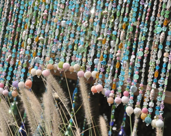 Beaded Bohemian Window Curtain Valance Pastel Colors (made to order)