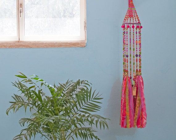 Rose Pink Apple green Orange and Yellow Bohemian Gypsy Mobile with Brass Bells and Fabric Tassels (made to order )