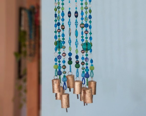 Turquoise Green and Transparent Bohemian Beaded Sun catcher  Wind Chimes with Brass Bells (made to order)