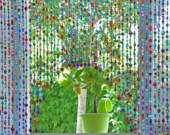Arch Shape, Artistic Beaded Curtain for doorway in turquoise pink fuchsia red and touches of gold green and yellow