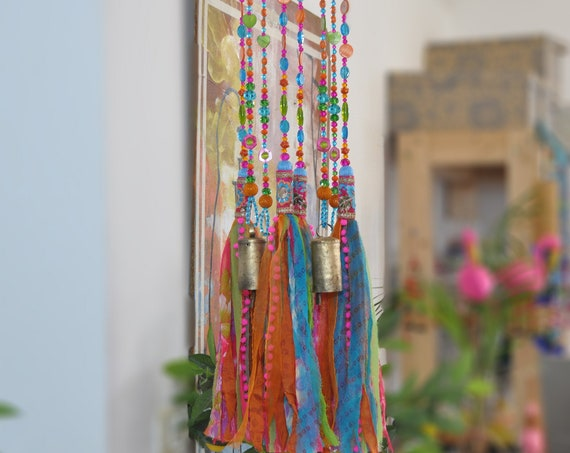 Fuchsia Turquoise Green and Orange Beaded Wind Chime with Fabric Tassels, Unique bohemian Hand Made To Order