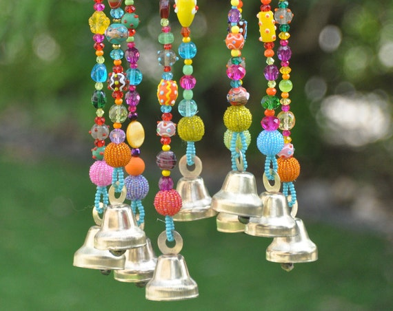 Bohemian beaded mobile with Brass bells-boho chic decor