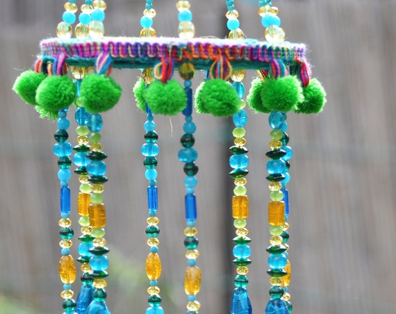 Turquoise Green Yellow and Gold Sun Catcher Bells Mobile With Fabric Tassels and Brass Bells (made to order)