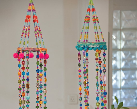 Two Colorful Bohemian Wind Chime With Brass Bells (Made to Order)