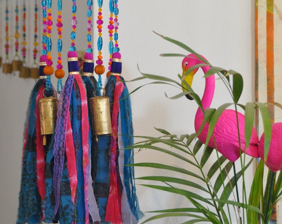 Fuchsia Turquoise purple and orange Beaded Wind Chime with fabric tassels, Unique boho hand Made To order