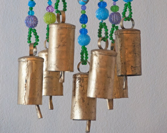 Unique Turquoise Green Purple Beaded Wind Chimes  with Brass Bells (made to order)