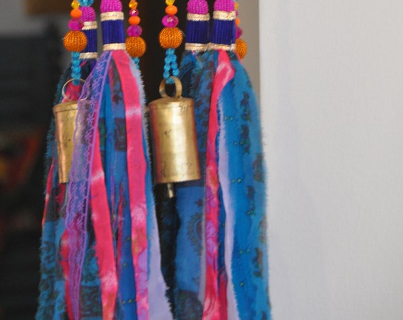 Fuchsia Turquoise purple and orange Beaded Wind Chime with fabric tassels, Unique bohemian hand Made To Order