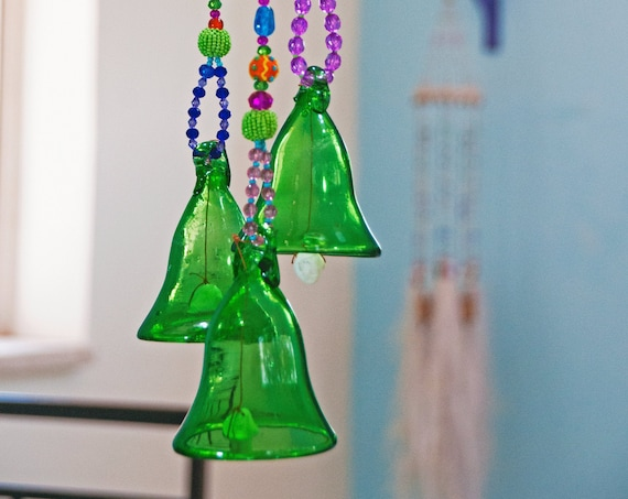 Blue Glass-Blown Bell On Beaded String (Made to Order)