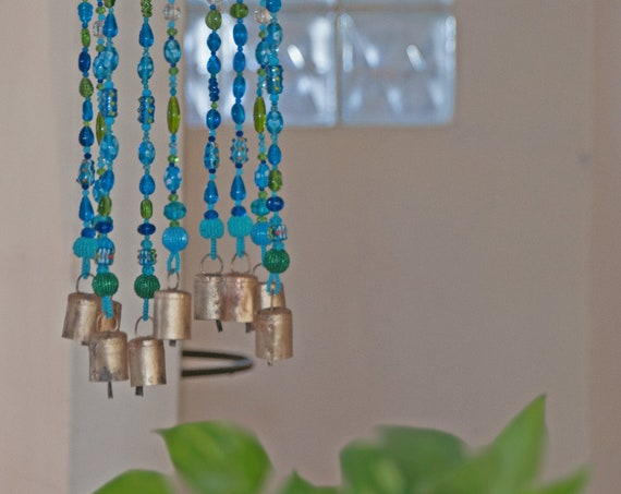 Turquoise and Green Bohemian Beaded Wind Chimes with Brass Bells (made to order)