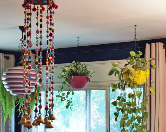 Bohemian interior-Colorful Beaded Mobile Windchime Suncatcher with brass bells(made to order)