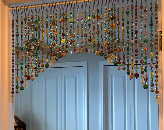 Beaded Valance in shadows of Green, Yellow, Brown, and touches of gold and copper (made to order)