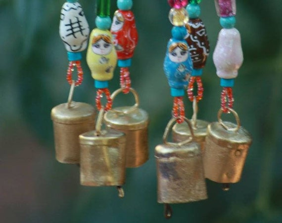Colorful Bohemian Wind Chime With Brass Bells (Made to Order)
