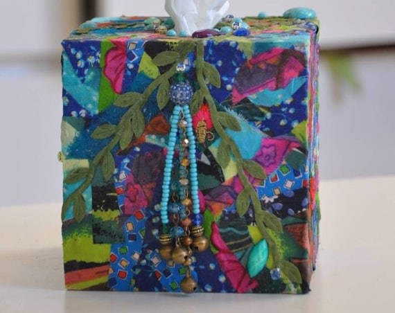 Bohemian hand made Square Kleenex box - Tissue Box Cover (made to order)
