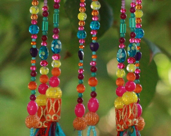 Turquoise, Pink, Orange & Yellow Beaded Wind Chime With Brass Bells (made to order)