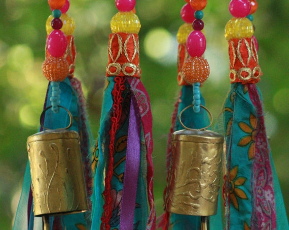Purple Pink Turquoise and Orange Beaded Mobile with Brass Bells and Fabric Tassels (made to order)