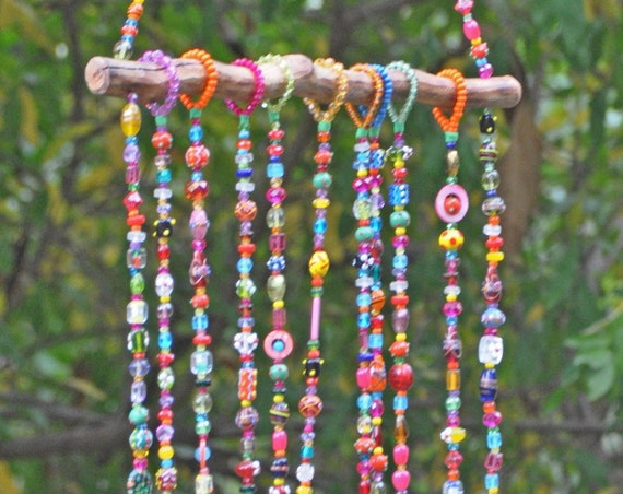 Bohemian Home Decor-Colorful Beaded Mobile wind chime with Brass bells and fabric tassel
