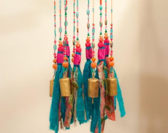 Bohemian Decor-Turquoise and fuchsia Pink Wind chime sun catchers
