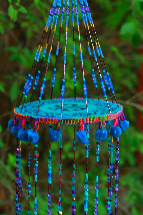 Turquoise and Purple  Dream Catcher Mobile with Brass Bells and Fabric Tassels (made to order)