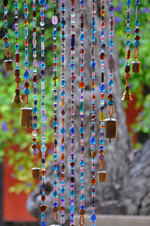 Beaded Curtain in Shadows of Purple Pink Blue and Gold with Brass Bells (made to order)