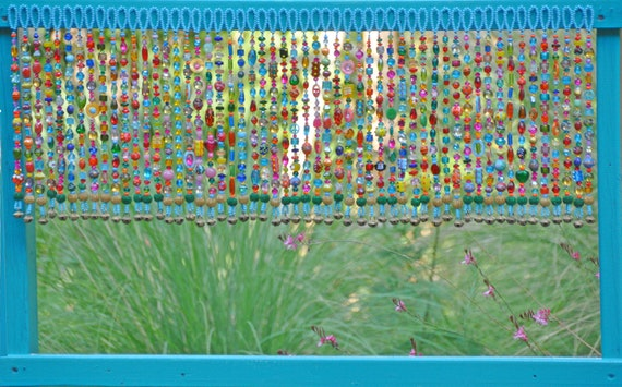 Colorful Glass-Beaded Window Valance & Chime (Made To Order)
