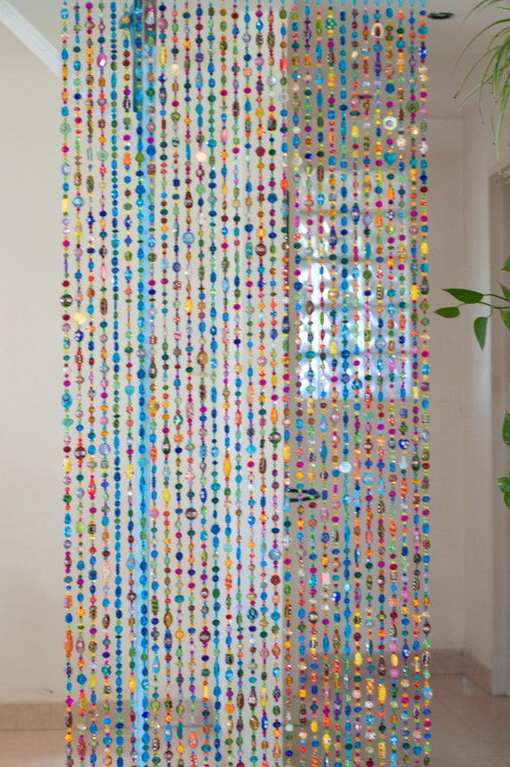 Bohemian Colorful Hand Made Door Beaded curtain, (made to order)