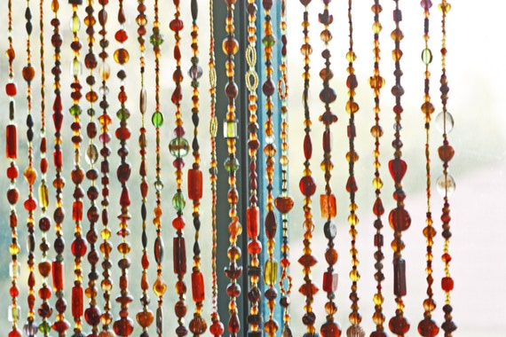 Bohemian Beaded Curtain In Shadows of Brown Amber and Gold with touches of green (made to order)