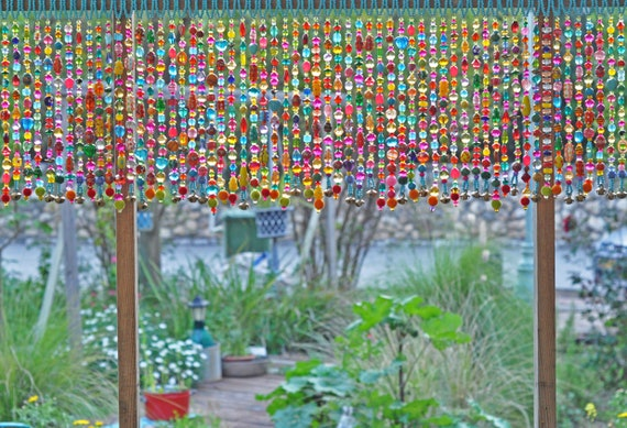 Colorful Glass-Beaded Window Valance & Chime