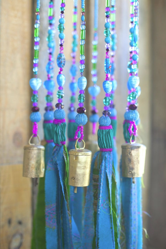 Aqua wind chime-Turquoise Beaded  Mobile With brass bells and fabric tassels, bohemian boho decor