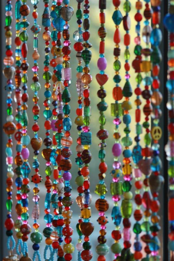 Cortina de abalorios arte de arte de la pared de ventana | Etsy