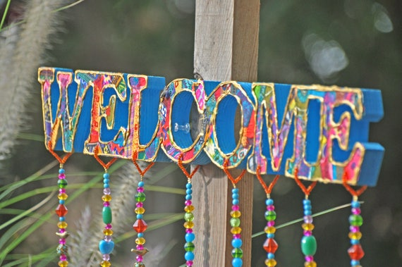 Welcome Sign with bells and tassels