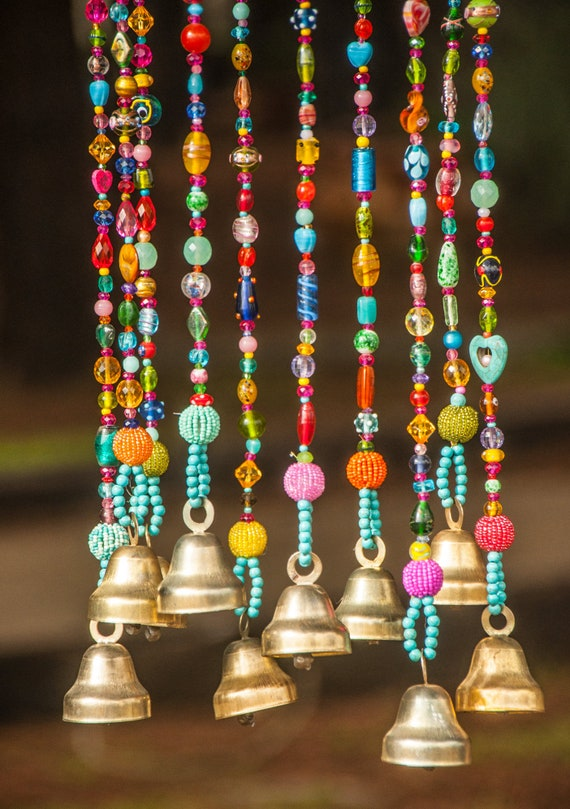 Gipsy Colorful Bohemian Beaded Mobile with Brass bells (made to order)